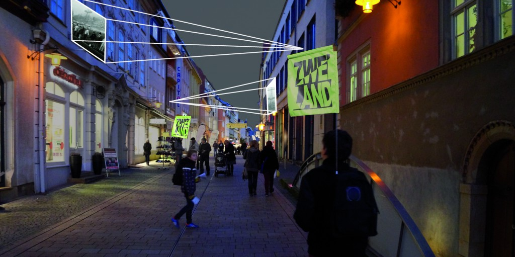 Montage – Foto-Klangausstellung in der abgedunkelten Eisenacher Fußgängerzone